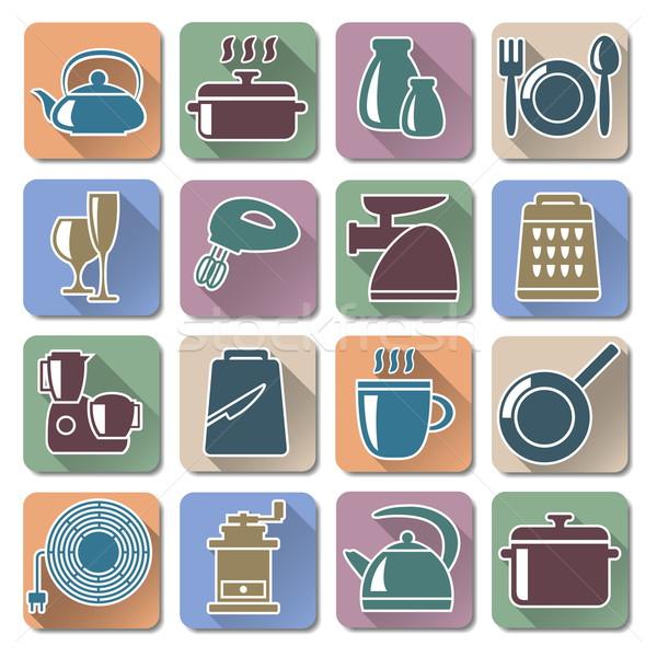 Vektor konyhai felszerelés retro ikonok étel tányér Stock fotó © dashadima