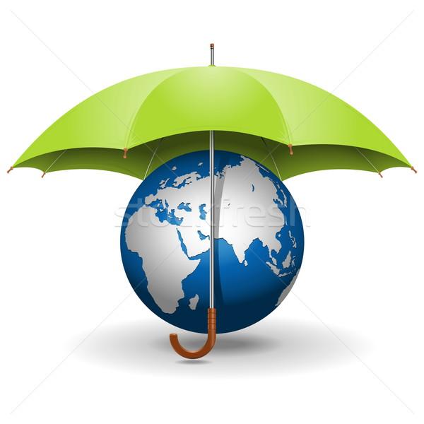 Vector Umbrella and Globe Stock photo © dashadima