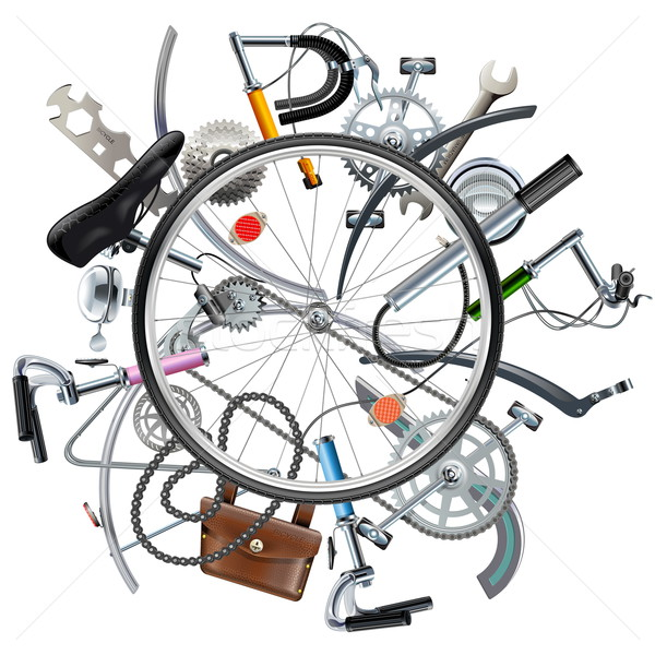 Vector Bicycle Spares Concept with Wheel Stock photo © dashadima