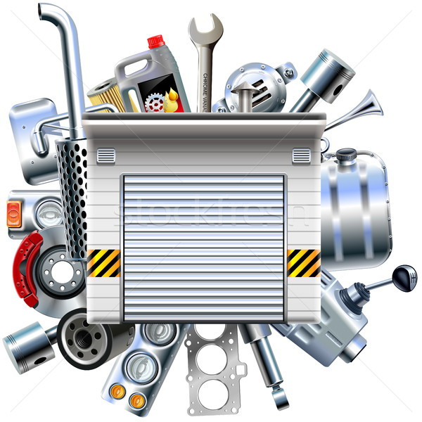 Vector Car Parts with Garage Stock photo © dashadima