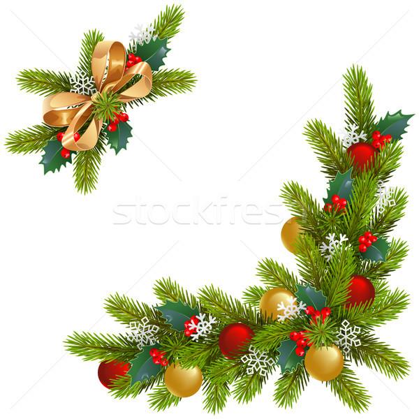 Vecteur Noël coin décorations isolé blanche Photo stock © dashadima