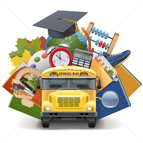 Vettore scuolabus isolato bianco libro scuola Foto d'archivio © dashadima