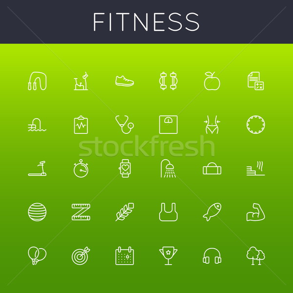 Stock photo: Vector Fitness Line Icons