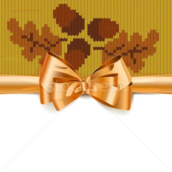 Vektor ajándék íj ősz kötött minta Stock fotó © dashadima