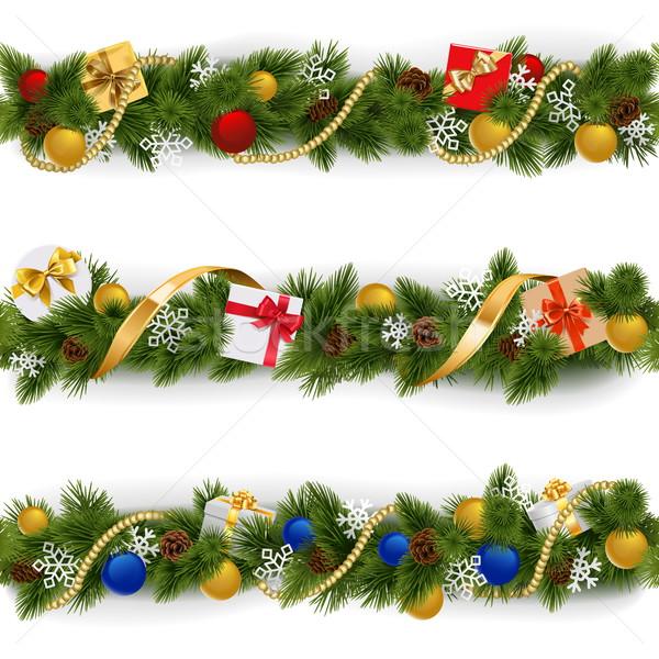 Stockfoto: Vector · christmas · grens · ingesteld · geïsoleerd · witte