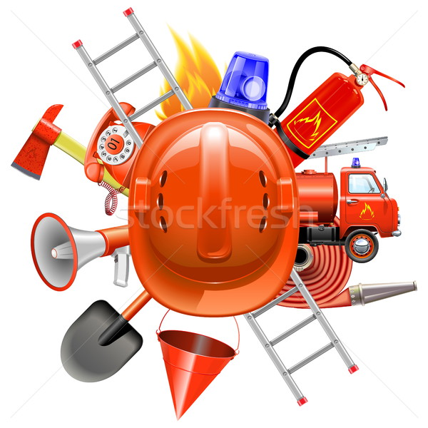 Vector Fire Prevention Concept with Helmet Stock photo © dashadima