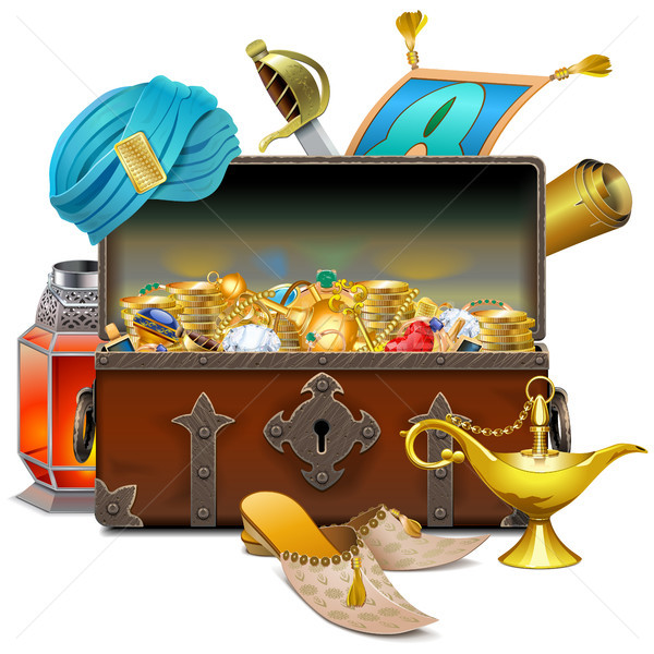 Vector Old Eastern Chest with Treasures Stock photo © dashadima