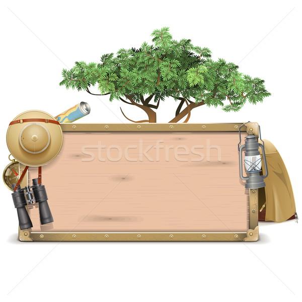 Vector Safari Wooden Board Stock photo © dashadima