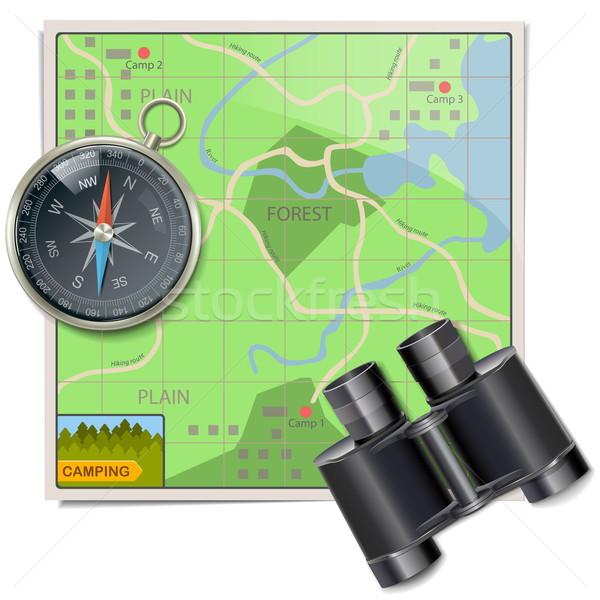 Vector camping kaart geïsoleerd witte kompas Stockfoto © dashadima