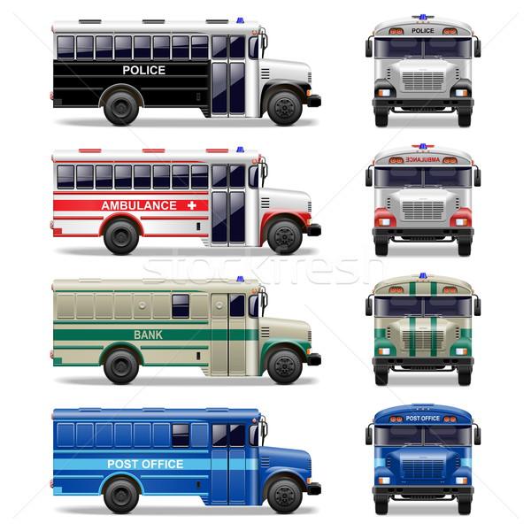 Vektor busz ikonok fehér háttér pénz Stock fotó © dashadima