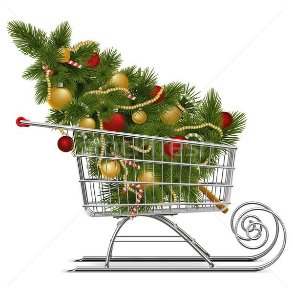 Vector Supermarket Sled with Christmas Tree Stock photo © dashadima
