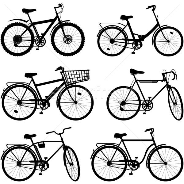 вектора велосипед пиктограммы набор изолированный белый Сток-фото © dashadima