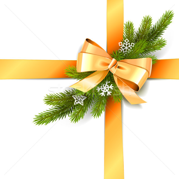 Vector Golden Bow with Fir Branch Stock photo © dashadima