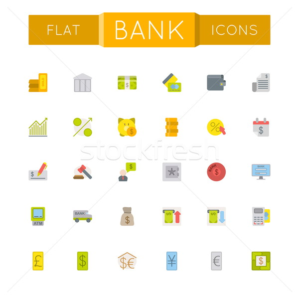 Vector Flat Bank Icons Stock photo © dashadima