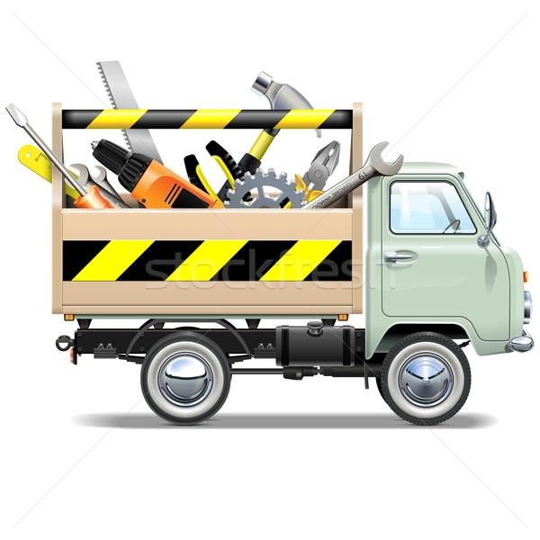 Vector retro vrachtwagen toolbox geïsoleerd witte Stockfoto © dashadima