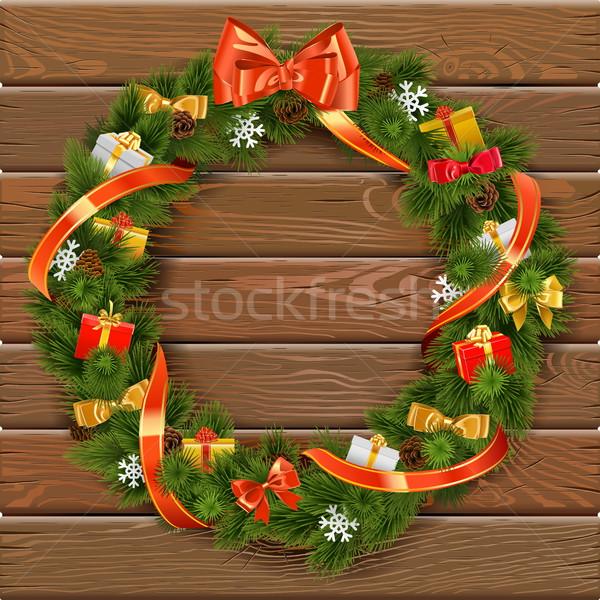 Vector christmas krans 10 geschenken Stockfoto © dashadima