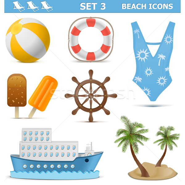 Vector Beach Icons Set 3 Stock photo © dashadima
