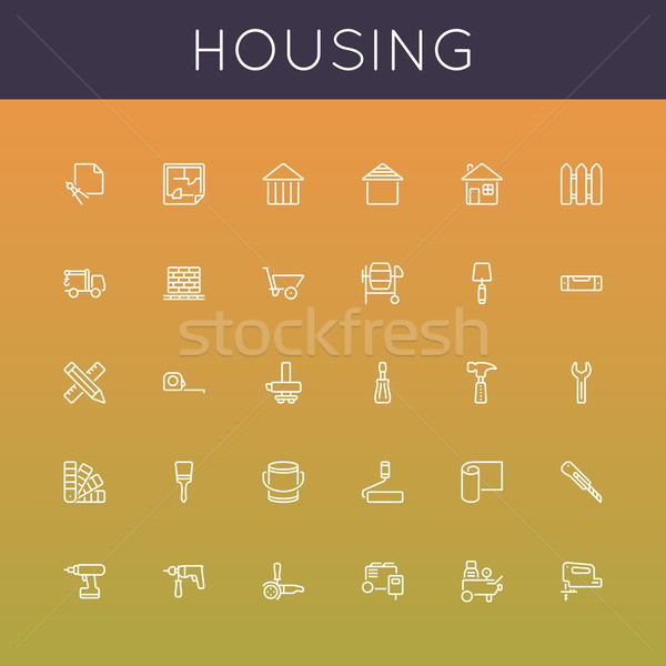 Vector Housing Line Icons Stock photo © dashadima