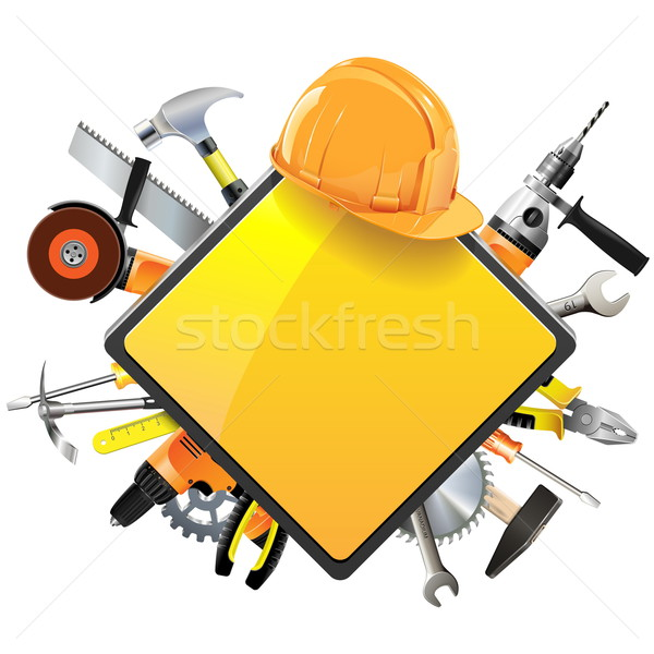 Stock photo: Vector Construction Sign with Tools