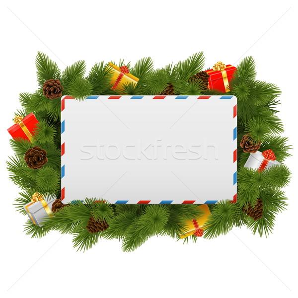 Vector christmas briefkaart geïsoleerd witte frame Stockfoto © dashadima