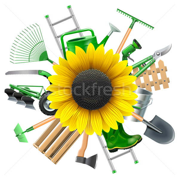 Vector Garden Equipment with Sunflower Stock photo © dashadima