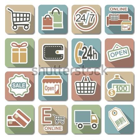 Vector shopping icons set Stock photo © dashadima