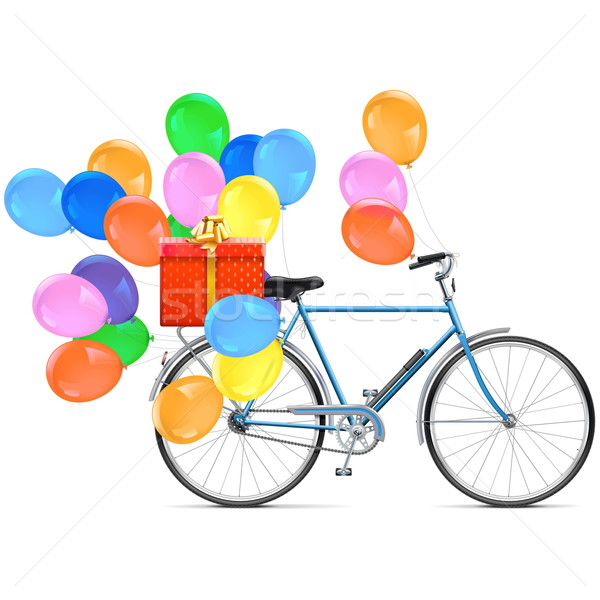 Vector Bicycle with Balloons Stock photo © dashadima