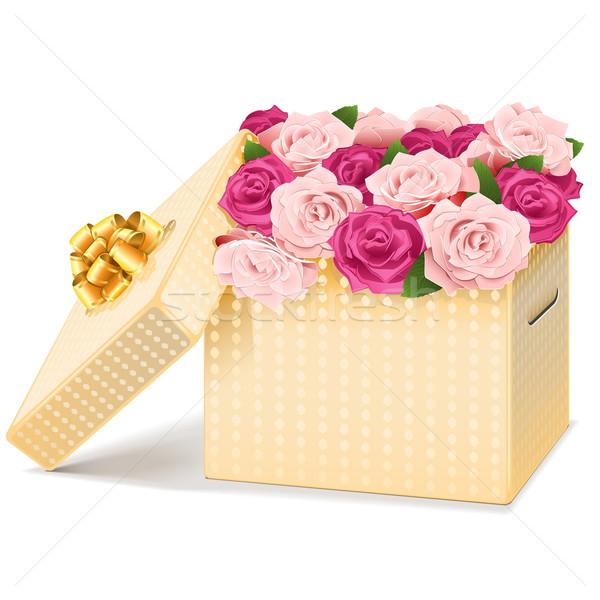 Stok fotoğraf: Vektör · hediye · kutusu · çiçekler · yalıtılmış · beyaz · düğün
