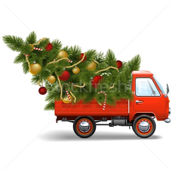 Vector Red Christmas Truck Stock photo © dashadima
