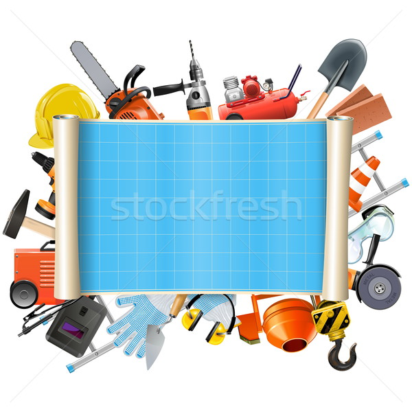 Vector Construction Scroll with Tools Stock photo © dashadima