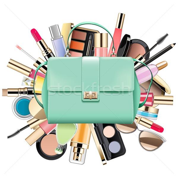 Vettore cosmetici bag isolato bianco moda Foto d'archivio © dashadima