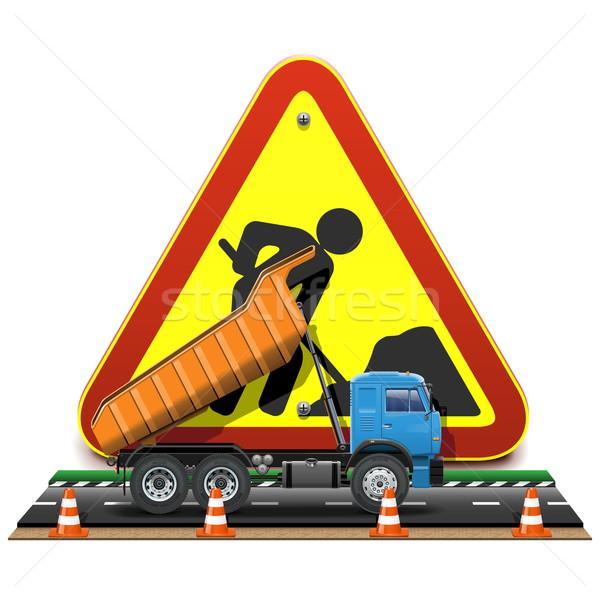 вектора дорожное строительство грузовика изолированный белый строительство Сток-фото © dashadima