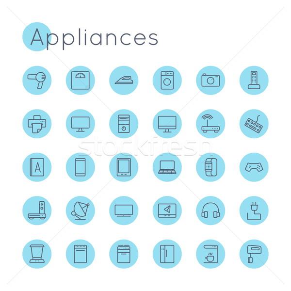 Wektora urządzenia ikona odizolowany biały komputera Zdjęcia stock © dashadima
