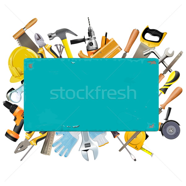 Vector Rusty Frame with Instruments Stock photo © dashadima
