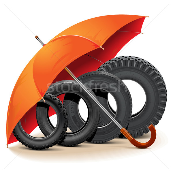 Vector Car Tires with Umbrella Stock photo © dashadima