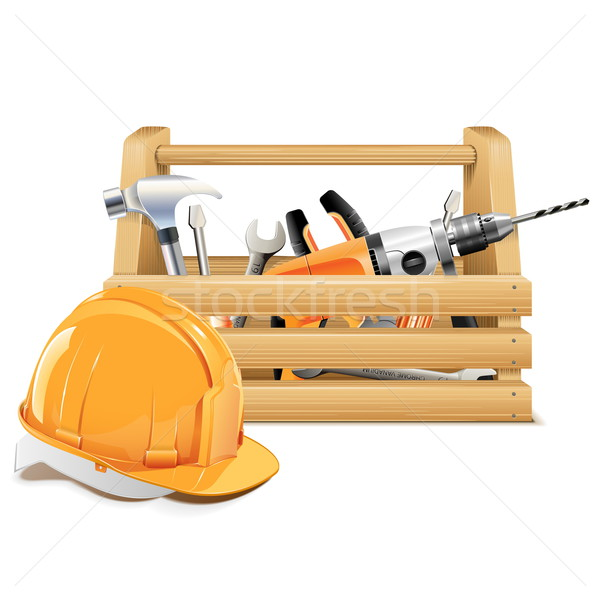 Vector Wooden Toolbox Stock photo © dashadima