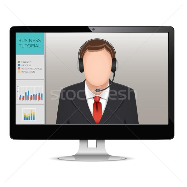 Wektora komputera webinar odizolowany biały działalności Zdjęcia stock © dashadima