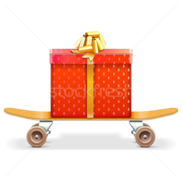 Vector Skateboard with Gift Stock photo © dashadima