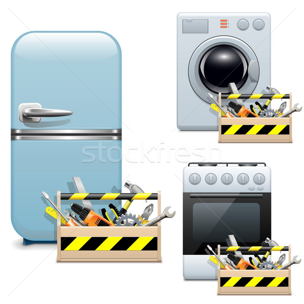 Vector Household Appliance Repair Icons Stock photo © dashadima