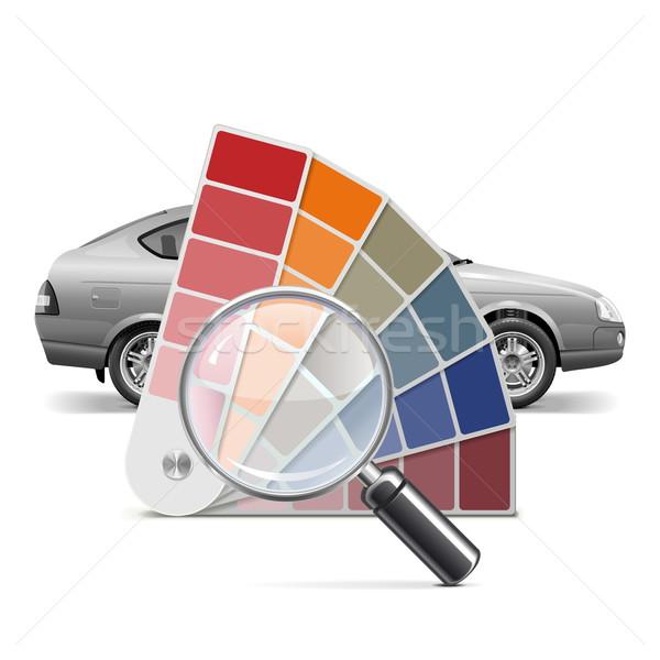 Foto stock: Vetor · cor · paleta · carro · isolado · branco