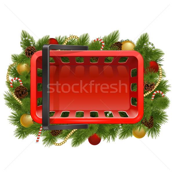 Vector Shopping Basket with Christmas Baubles Stock photo © dashadima