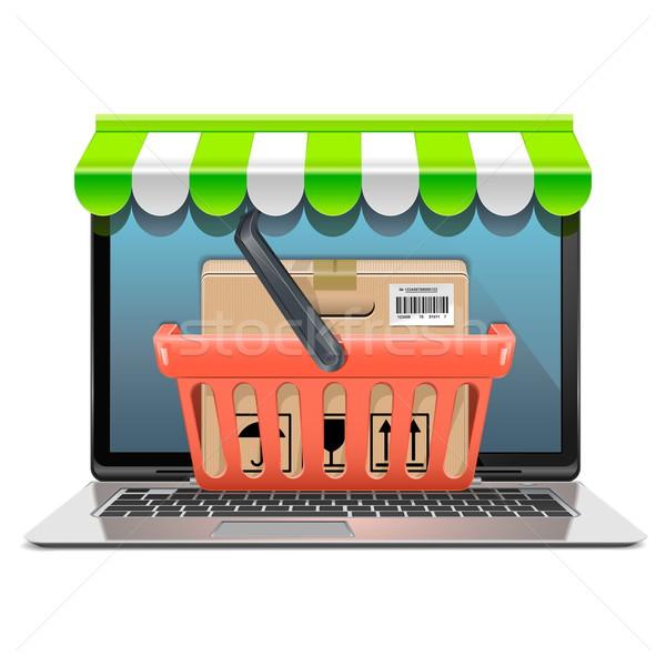 Wektora komputera zakupy odizolowany biały działalności Zdjęcia stock © dashadima