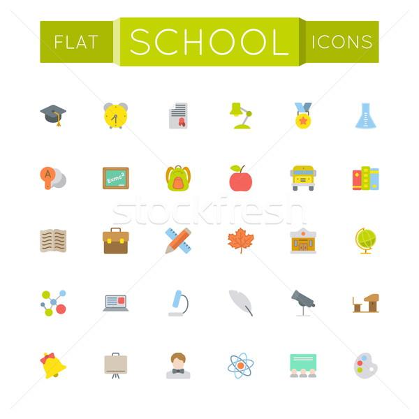 Foto stock: Vetor · escolas · ícones · isolado · branco · maçã