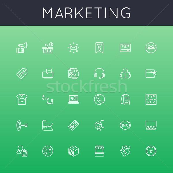 Zdjęcia stock: Wektora · obrotu · line · ikona · odizolowany · zielone