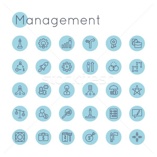 Zdjęcia stock: Wektora · zarządzania · ikona · odizolowany · biały · Internetu