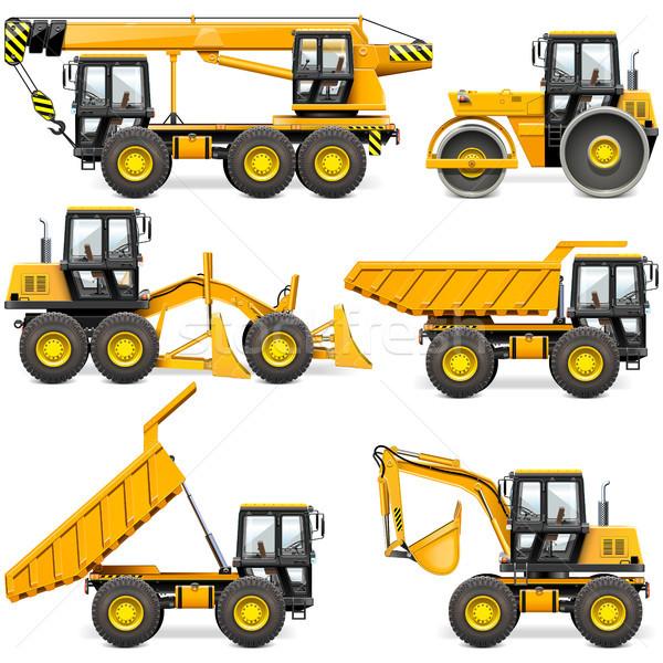 Vecteur jaune construction machines isolé Photo stock © dashadima