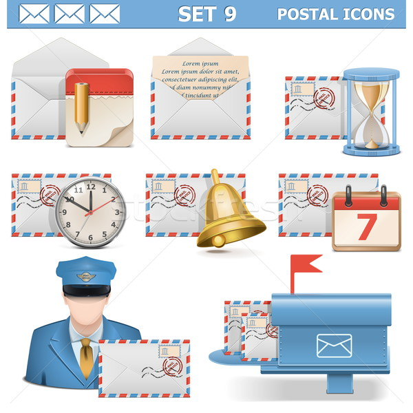 Vector Postal Icons Set 9 Stock photo © dashadima