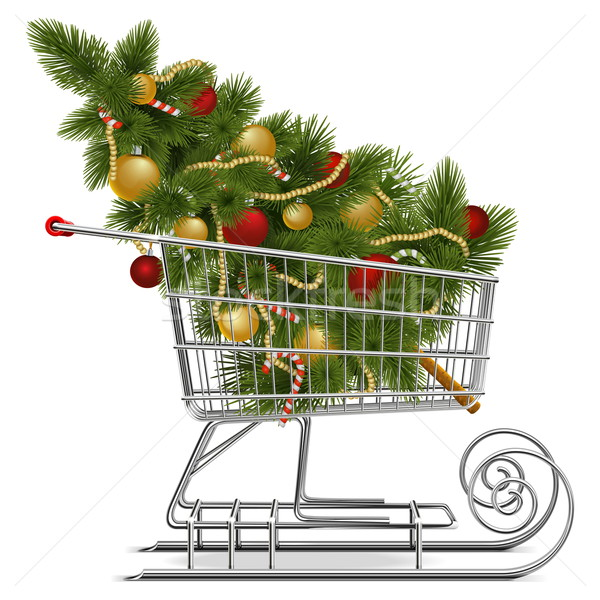 Vector Shopping Sled with Christmas Tree Stock photo © dashadima