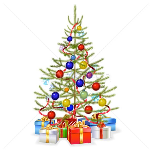 Wektora christmas jodła prezenty odizolowany biały Zdjęcia stock © dashadima