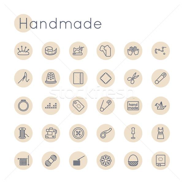 Stock fotó: Vektor · kézzel · készített · ikonok · izolált · fehér · munka